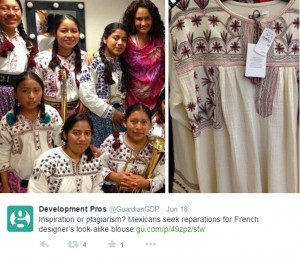 Image Credit: Tweet by Development Pros, featuring traditional Mixe blouse (left) and Isabel Marant copy (right) via Vogue UK. www.vogue.co.uk