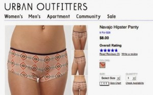 "Image Credit: ""Navajo"" Hipster Panty. Urban Outfitters via www.thefashionlaw.com"