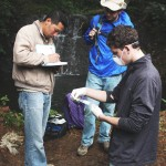 Working with our ADEC partners to do water quality testing of the potential sources.  -- Photo Credit: Jesse Han