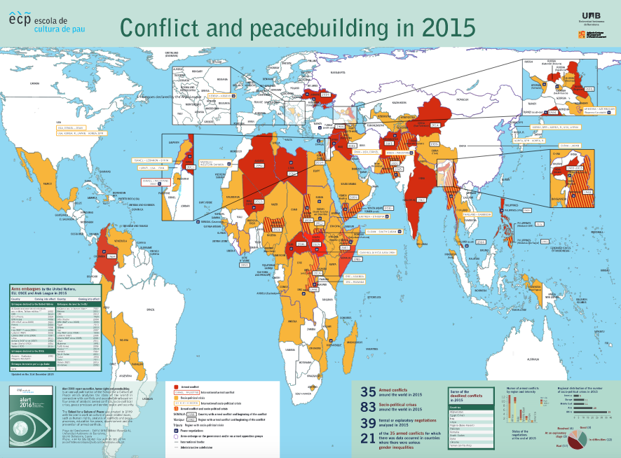 Conflicts and Peace Building, 2015 map by School of Peace, UAB