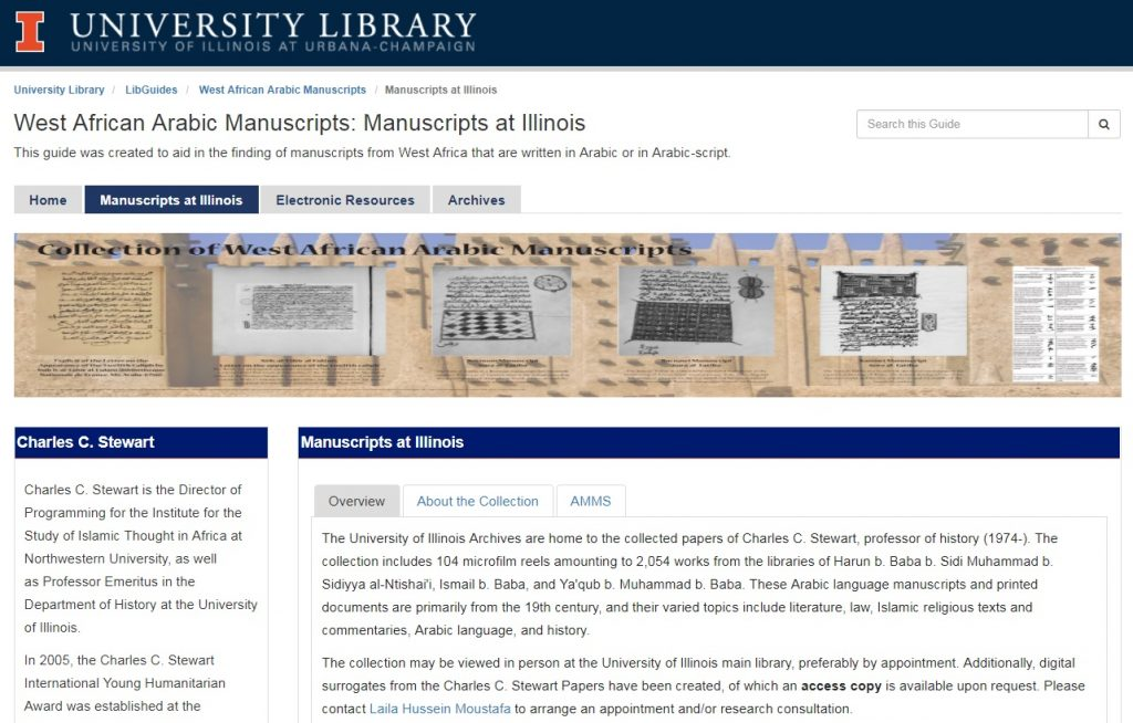 screenshot of library guide about west-african manuscripts