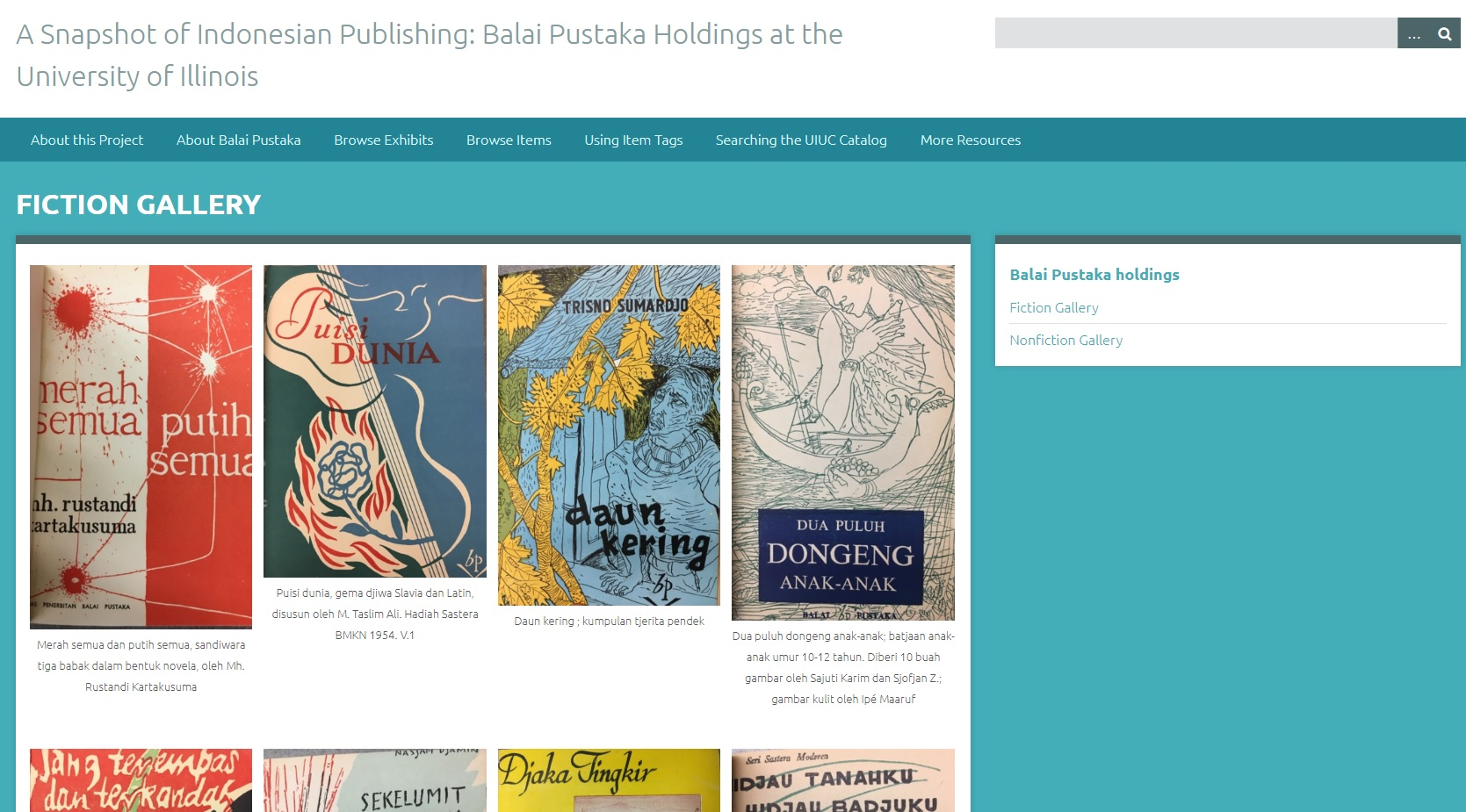 A screenshot of a webpage that includes items from the Balai Pustaka fiction collection