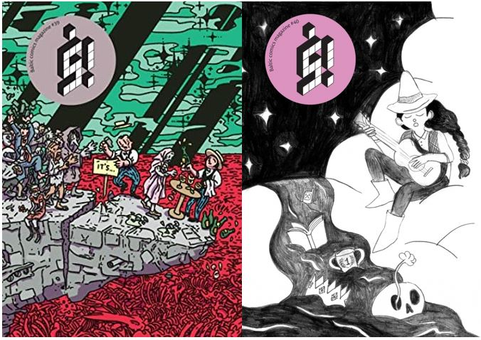 Two side by side cover images from š comics from Latvia