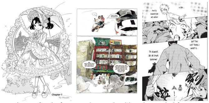 Excerpt images from inside The Poet Sorcerer Taiwanese comics