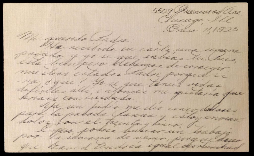 Letter sent from Pedro Alayu in Chicago, Illinois, to his father, Joaquin Alayu, in the Philippines, January 11, 1925.