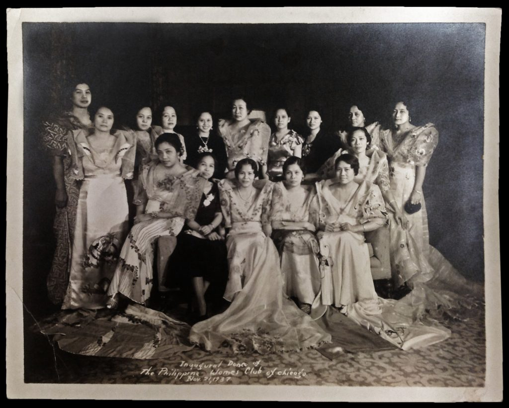 Group photo taken at the Inaugural Dance of the Philippine Women's Club of Chicago, November 21, 1937.