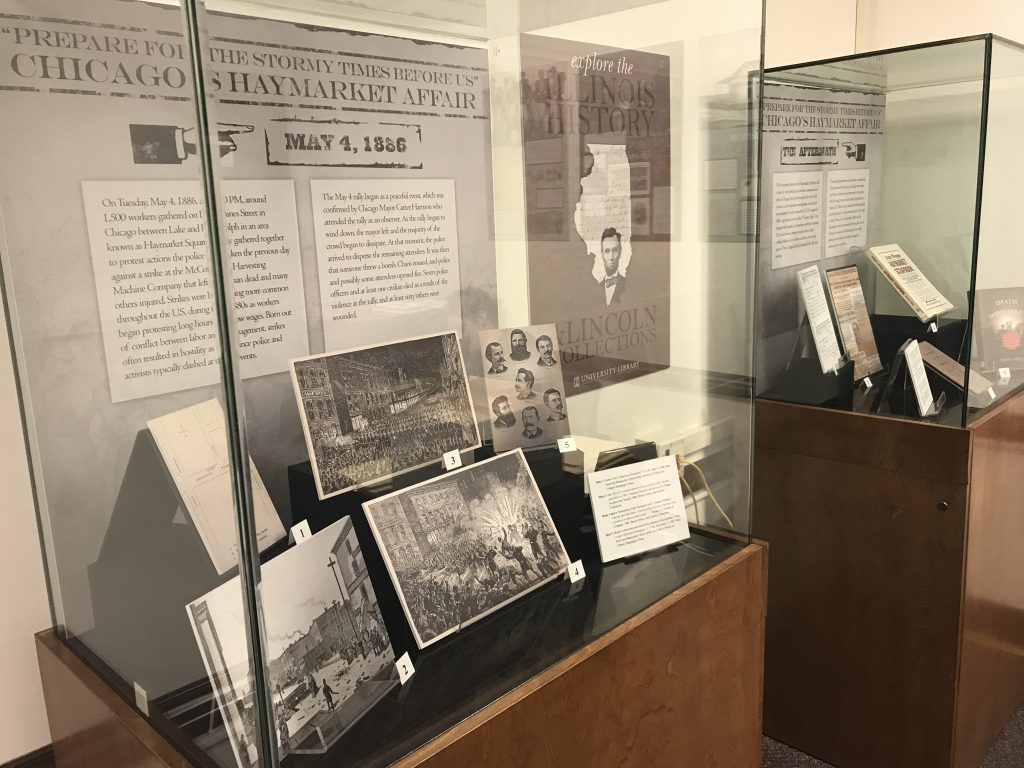 """Image of IHLC's exhibit """"Prepare for the Stormy Times Before Us"""": Chicago's Haymarket Affair"""