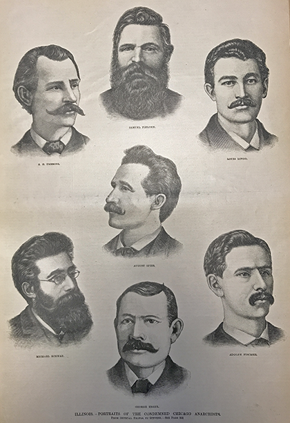 Sketch of seven of the eight men arrested in response to the bombing. Frank Leslie's Illustrated Newspaper. V. 65-66. November 12, 1887.