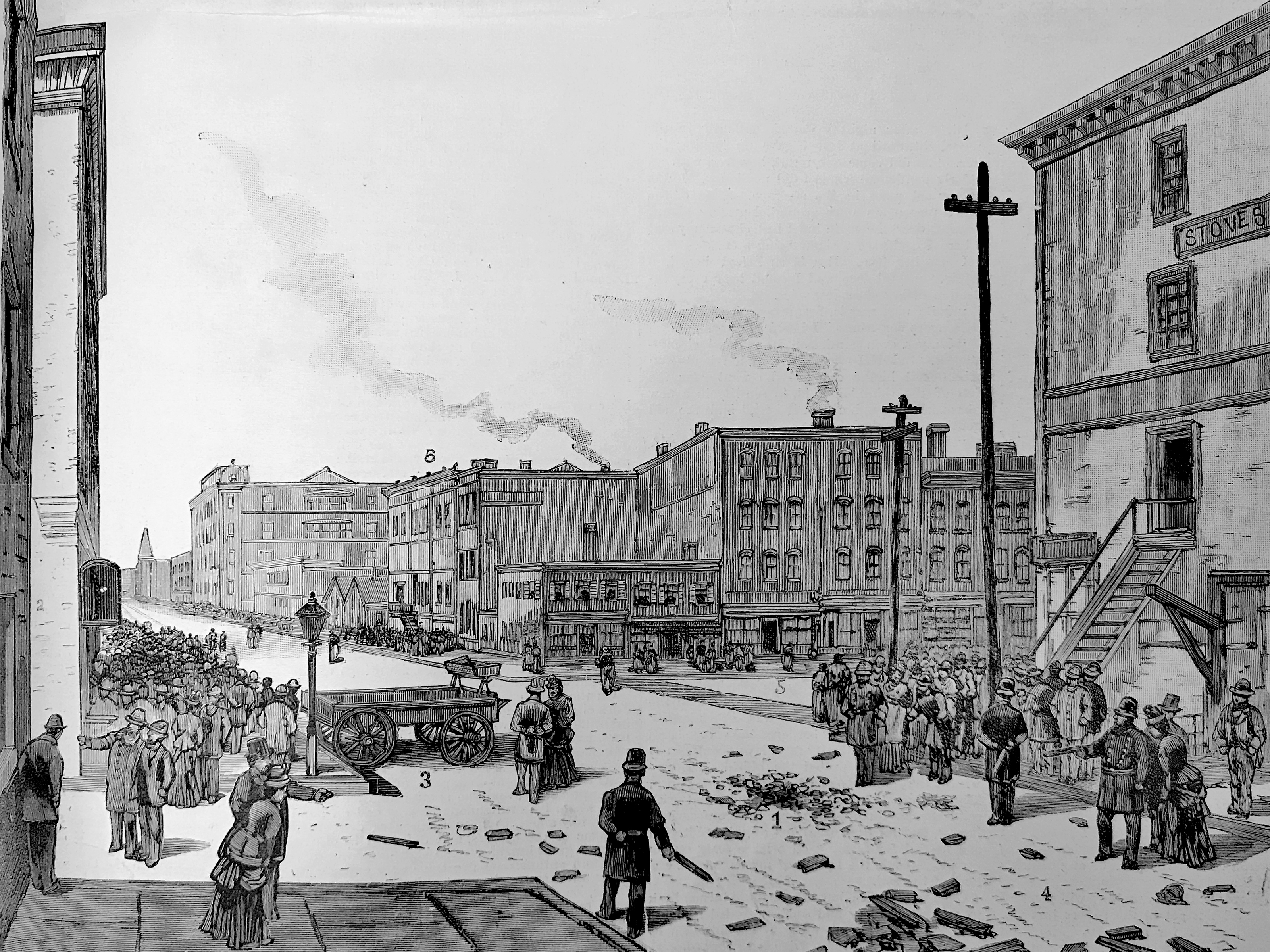 Illustration of a mostly empty Haymarket Square after the events of May 4th.