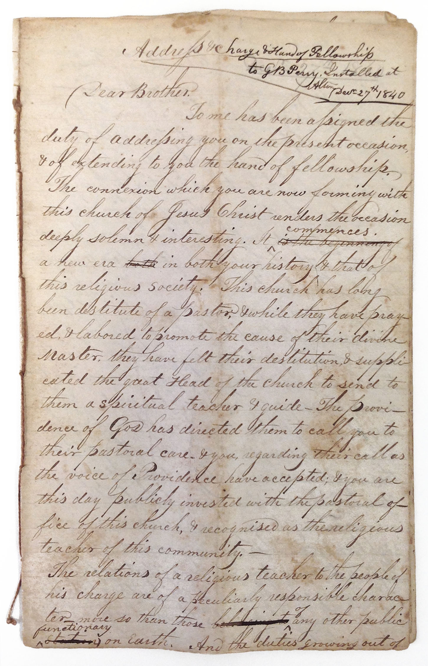 First page of Washington Leverett's address for the installation of a pastor, 1840.