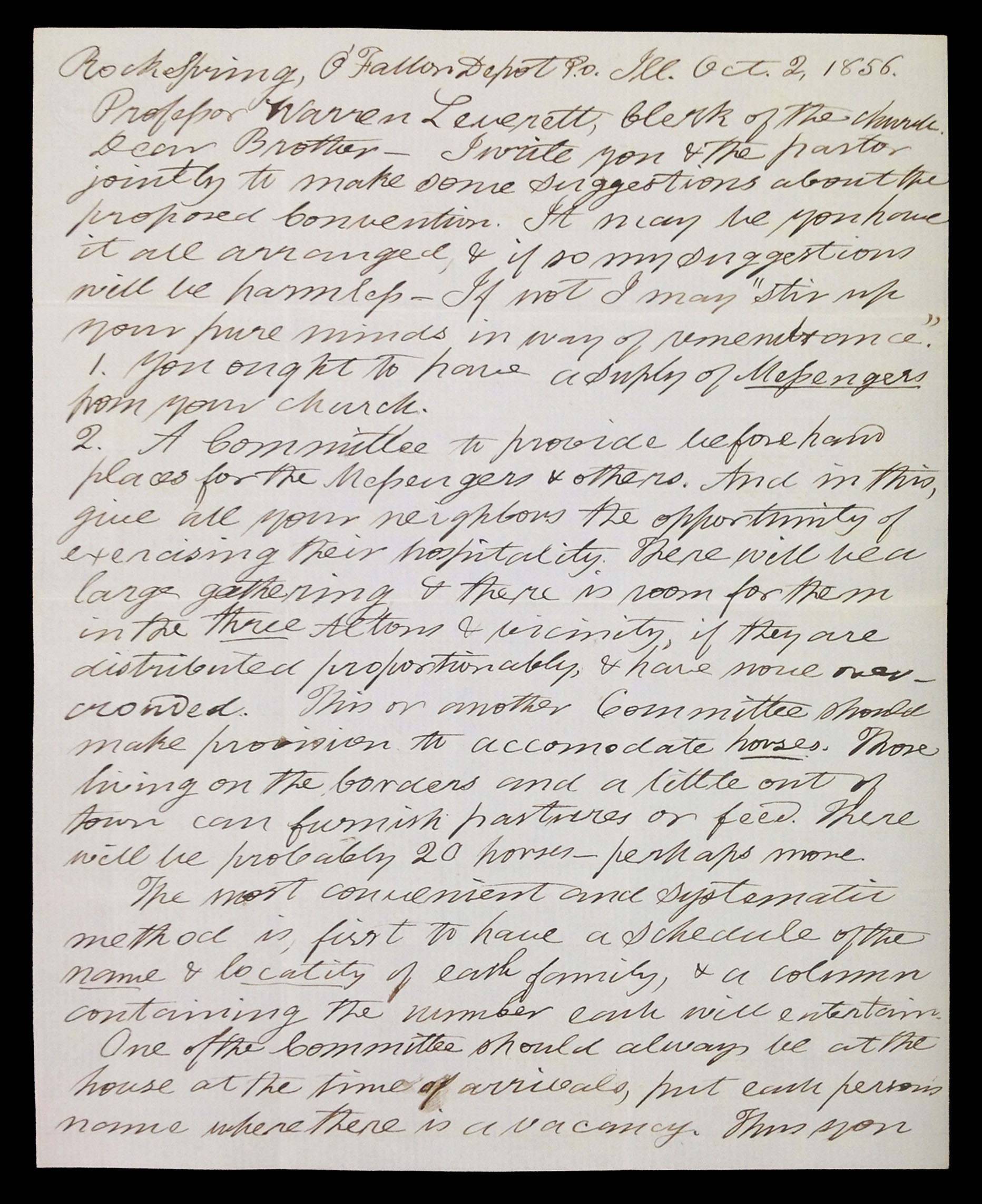 Letter from John Mason Peck to Warren Leverett, 1856.