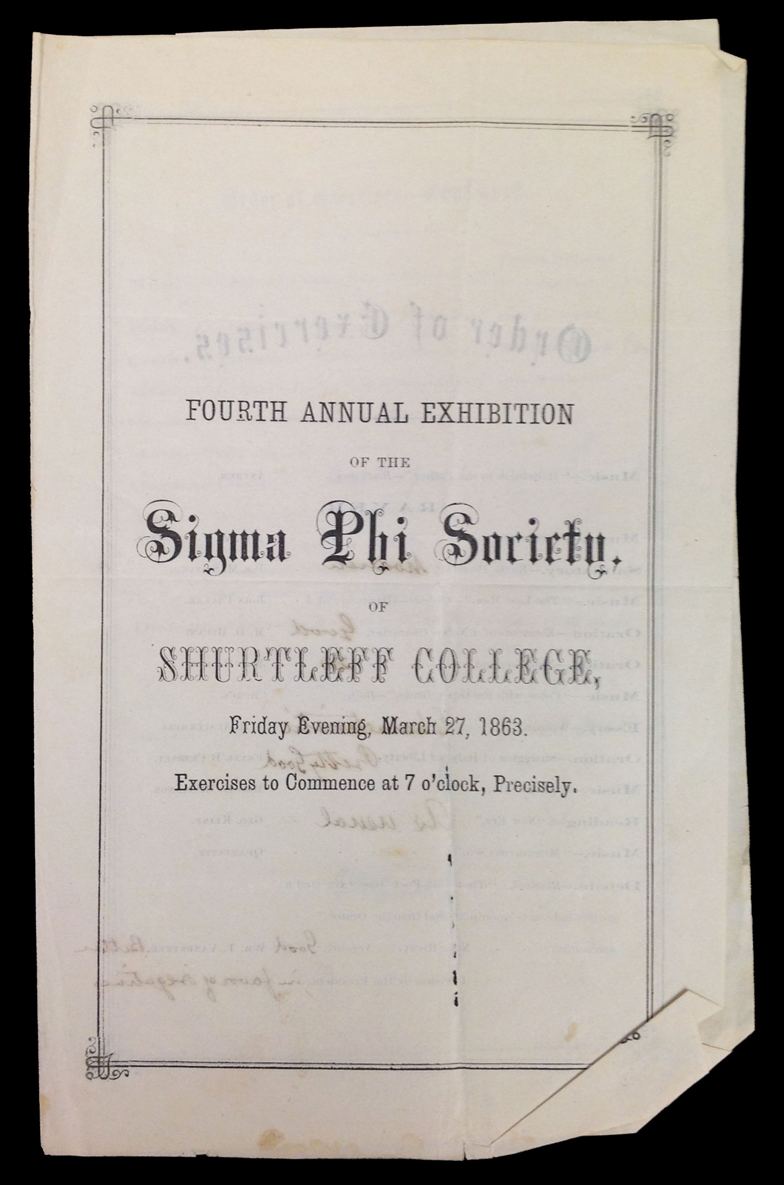 "Event program, ""Fourth Annual Exhibition of the Sigma Phi Society of Shurtleff College,"" 1863."