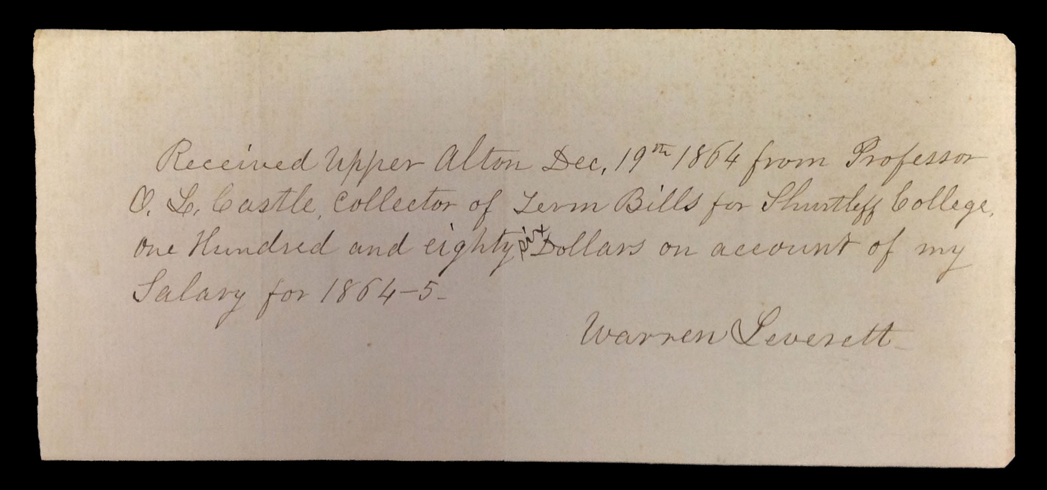 Note from Warren Leverett regarding his Shurtleff College salary, 1864.