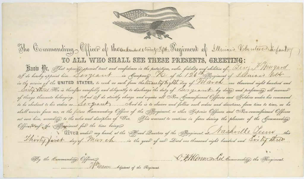 B.F. Wingard's promotion to sergeant, March 28, 1863.