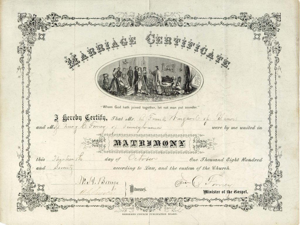 Wingard marriage certificate, October 13, 1870.