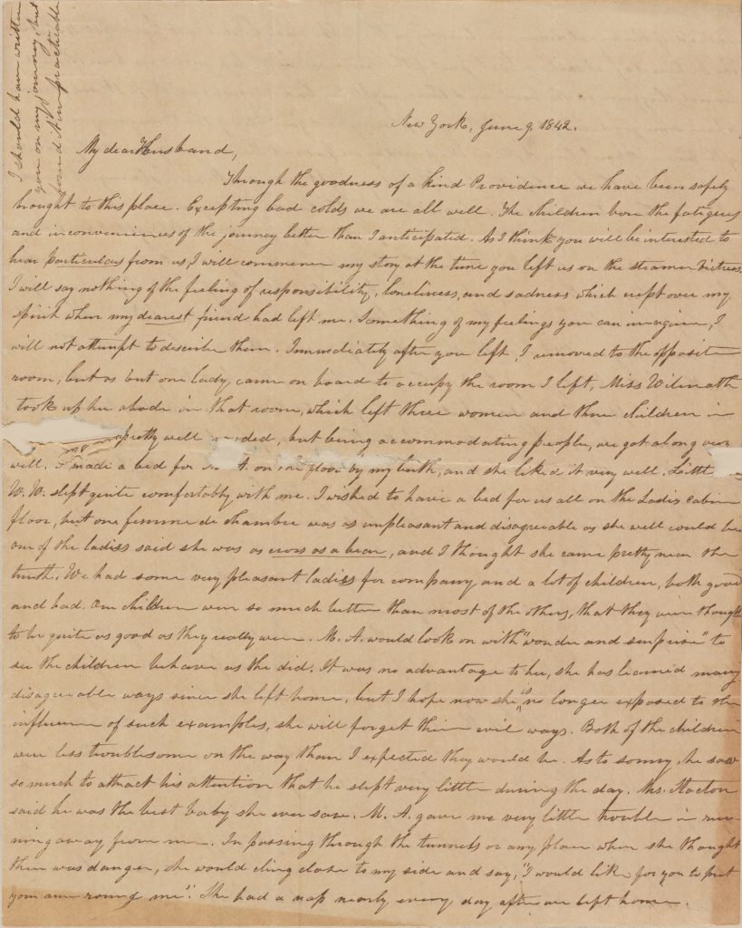 Letter from Mary Ann (Brown) Leverett to her husband Warren Leverett regarding her trip from Alton, Illinois to New England, 1842.