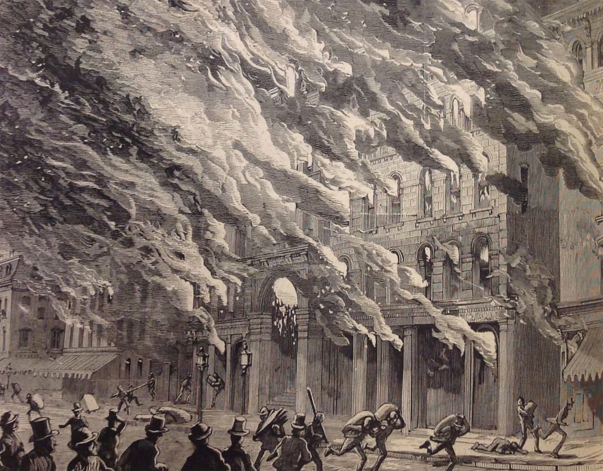 Illustration of the burning of Crosby's Opera House, 1871.