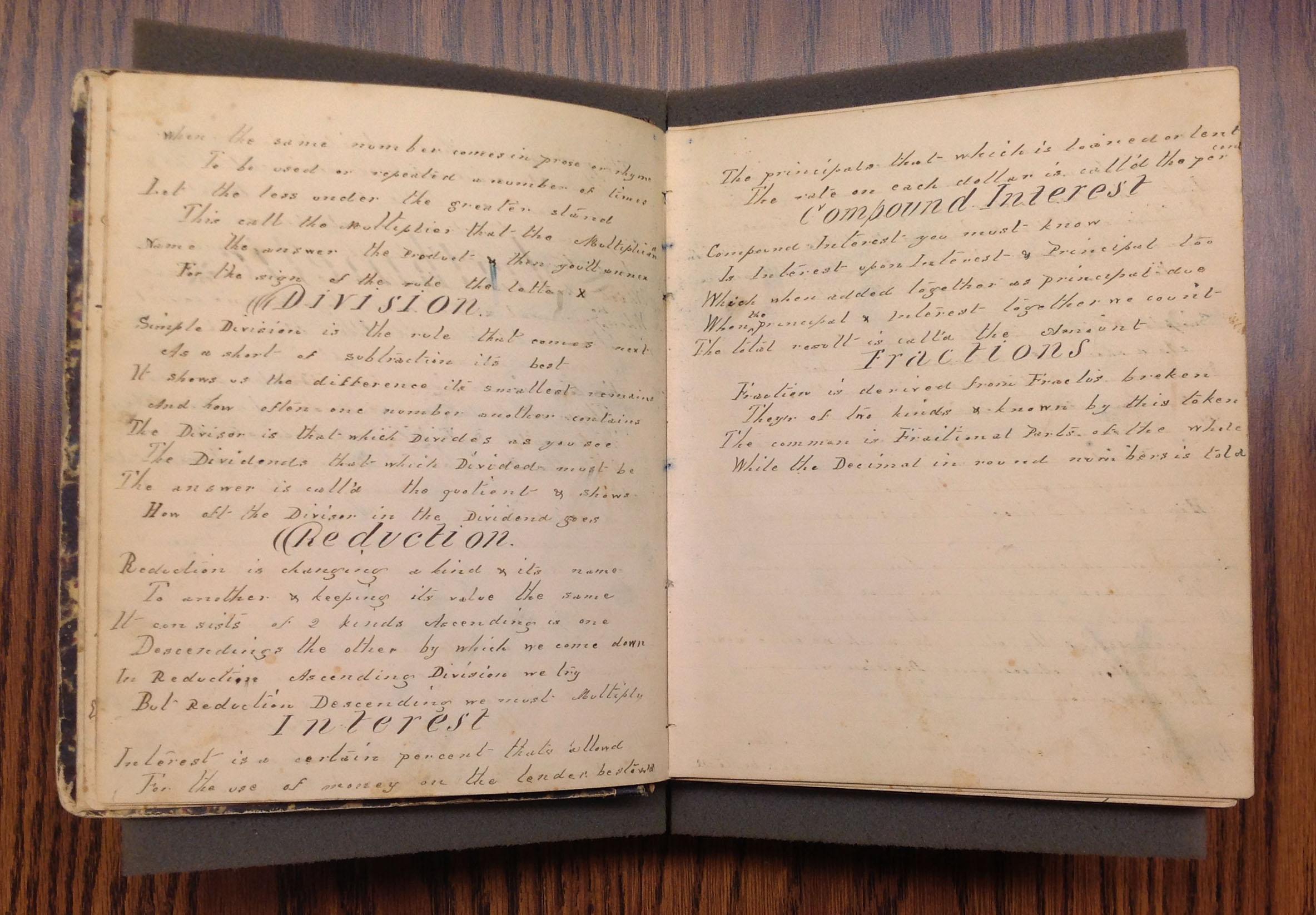 """Compound Interest,"" Teresa Dalbey School Notebook, 1859-1864"