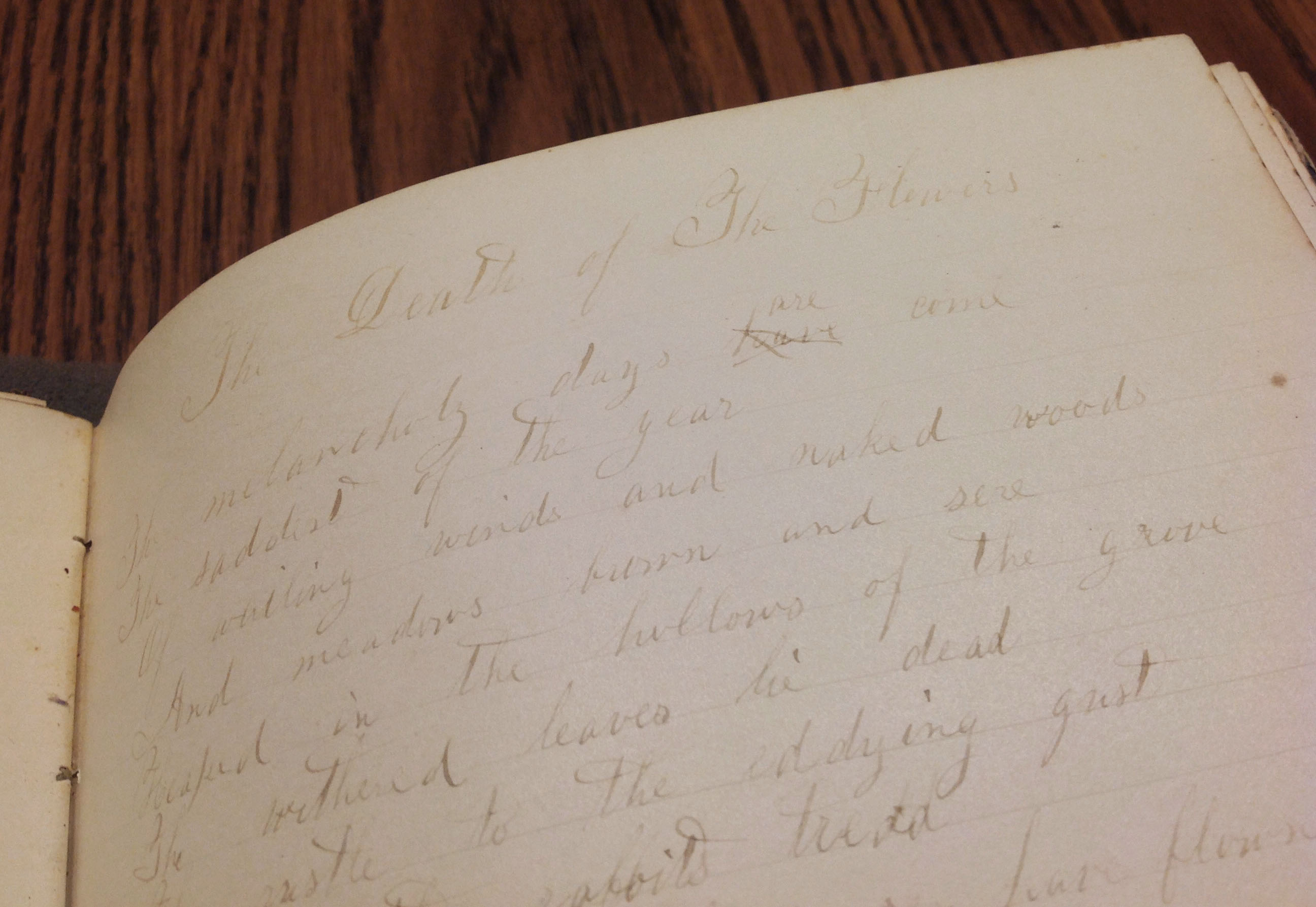 """""""Death of the Flowers"""" by William Cullen Bryant, Teresa Dalbey School Notebook, 1859-1864"""