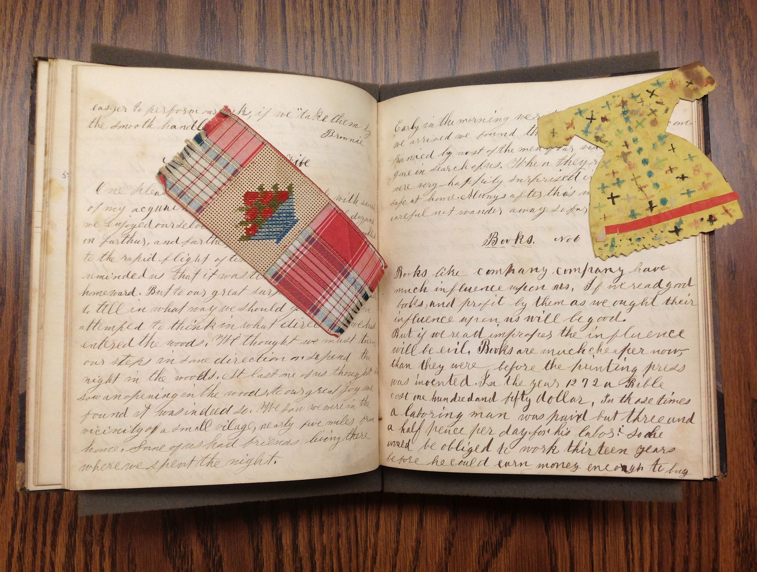 """Composition Number 6, """"Books,"""" in Sarah E. A. Brown Leverett School Notebook, 1857-1858"""
