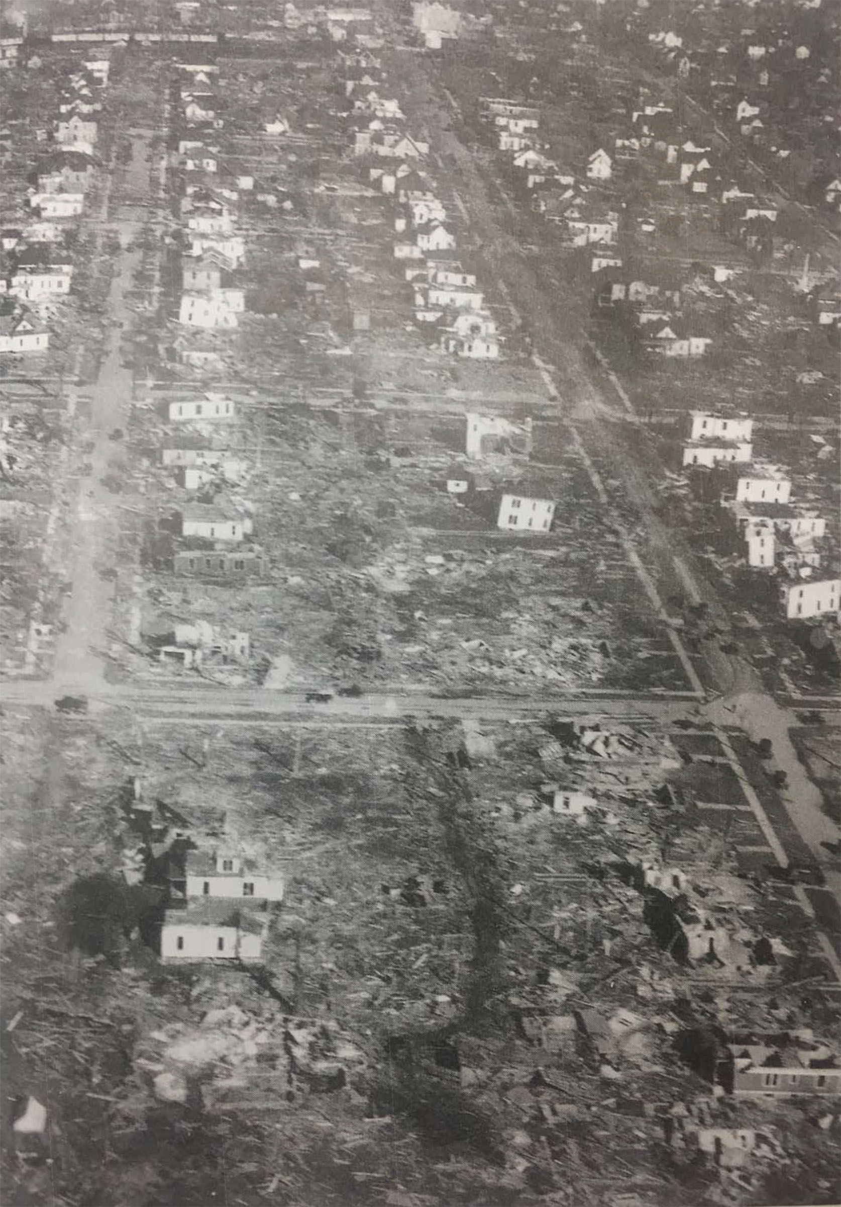 Aerial image of buildings damaged in the Tri-State Tornado, 1925.