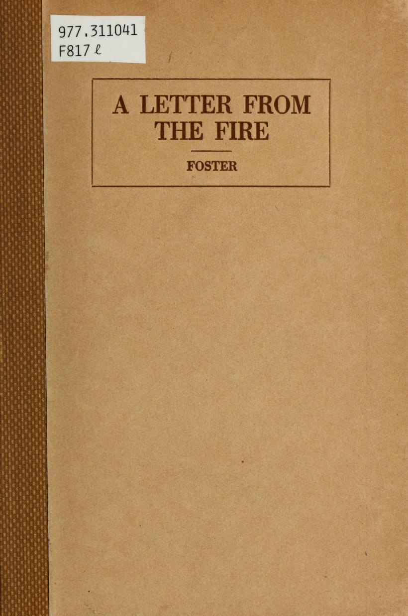 Front cover of A Letter from the Fire by Thomas D. Foster. Links to Flip Book of full text with audio available.