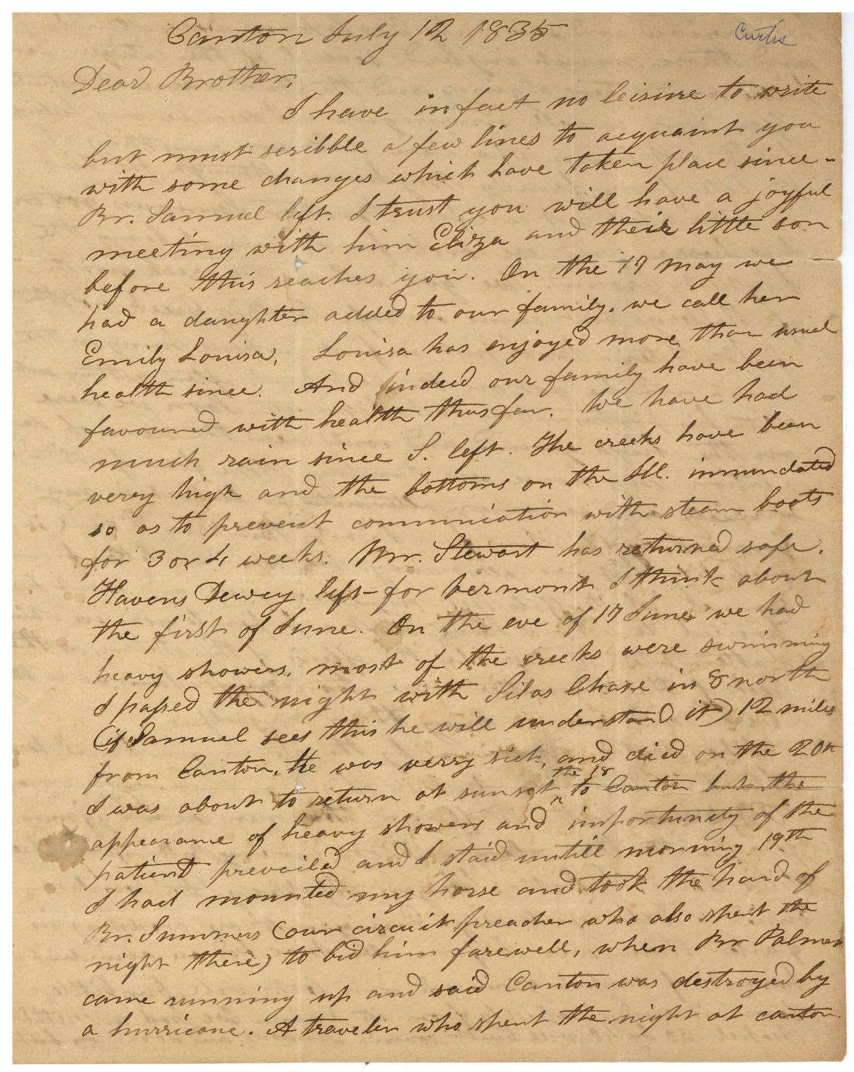 Letter from Rev. Lathrop Curtis to Rev. Otis Curtis regarding a tornado that hit Canton, Illinois, July 12, 1835