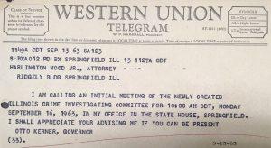 Western Union Telegram from Otto Kerner to Harlington Wood Jr