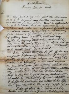 Letter from Governor Ford to Sheriff Minor Deming, 1844