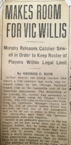 1910 newspaper clipping of Sewell's release from Chicago Cubs
