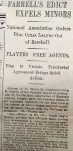 1911 newspaper clipping of Blue Grass League Expulsion