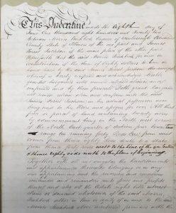 1822 land deed signed by Morris Birkbeck