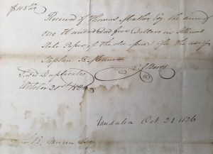Receipt from Thomas Mather to Stephen B. Munn, October 21, 1826