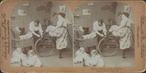 """""""The New Woman and the Old Man"""" Stereoscopic card"""