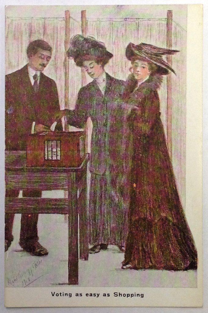 """Postcard, circa 1910s. """"Voting as easy as Shopping."""""""