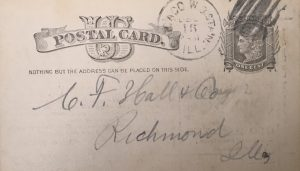 Postal Card addressed to C.F. Hall & Co., Richmond Ill.