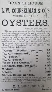 "Branch House of L.W. Counselman & Co's ""Circle Brand"" Oysters - typed price list"