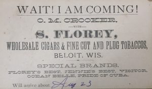 Wait! I am coming! O.M. Crooker, with S. Florey, Wholesale cigars & fine cut and plug tobaccos