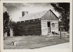Photo of Dr. Francis Regnier's reconstructed cabin at Lincoln's New Salem