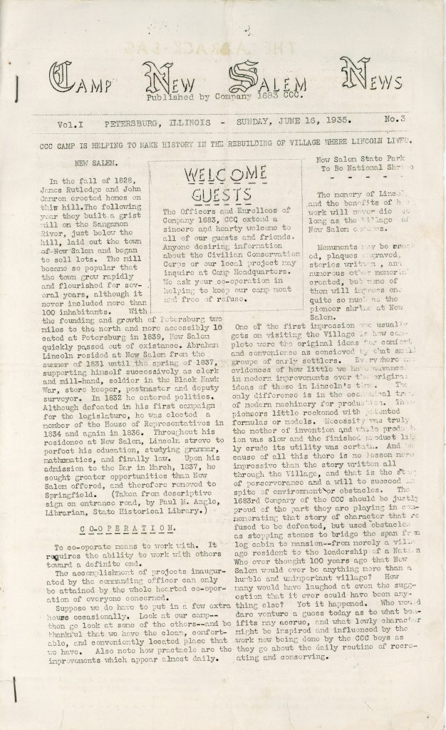 Newsletter for Civilian Conservation Corps