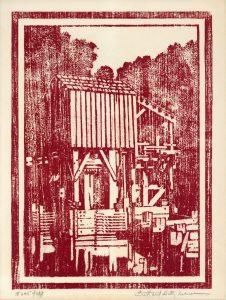 Wood block print depicting a mill at Lincoln's New Salem