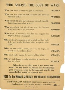 Breakdown of war being a woman's issue.
