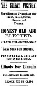 Newspaper clipping with headlines announcing Lincoln's election