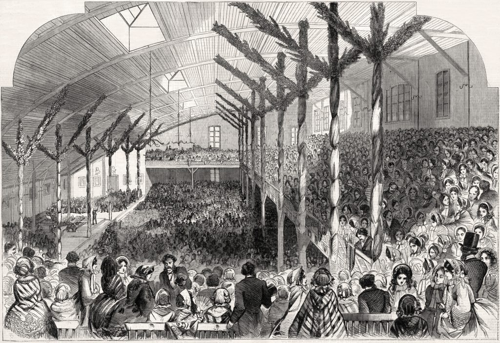 """Illustration depicting the crowded interior of the """"wigwam"""" during the Republican Convention"""
