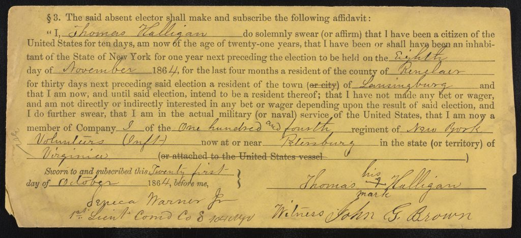 Printed form on face of envelope, filled in by hand and signed