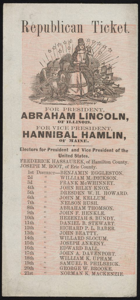 Printed electors handbill for Lincoln and Hamlin with red background