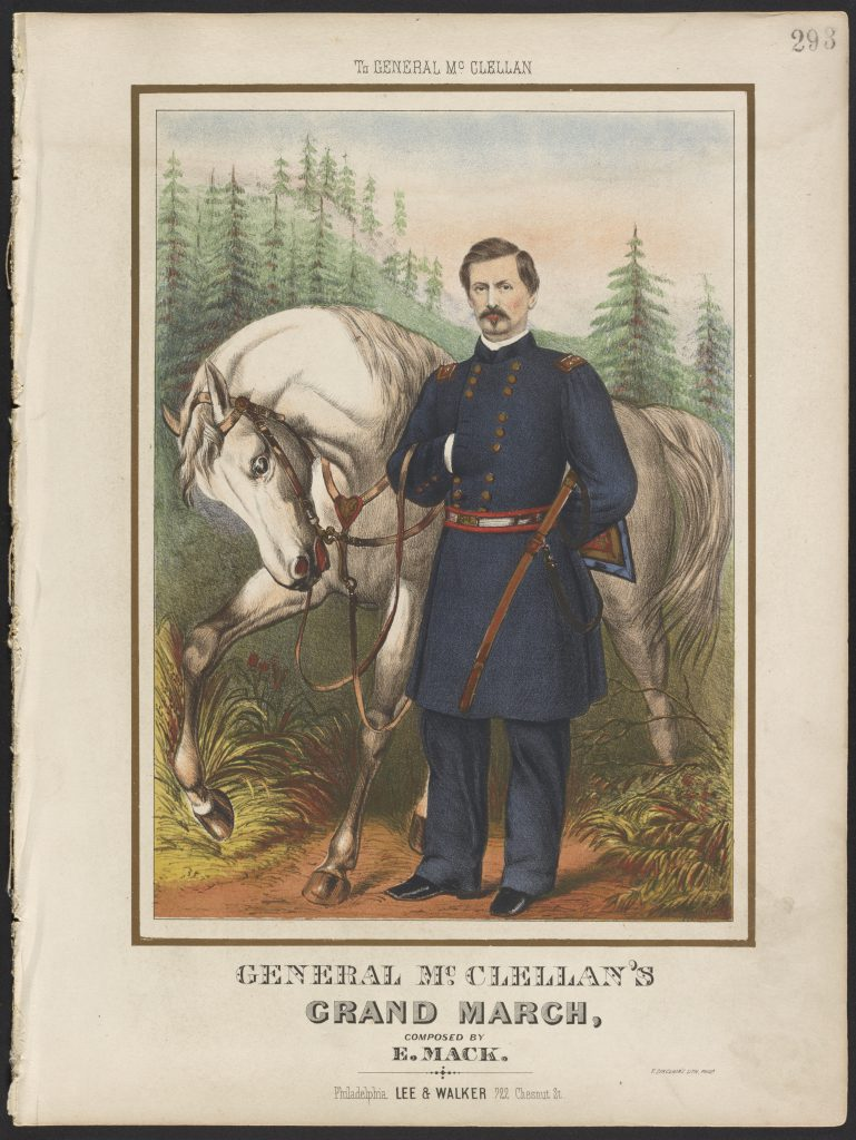Front cover of musical score with illustration of McClellan and a horse