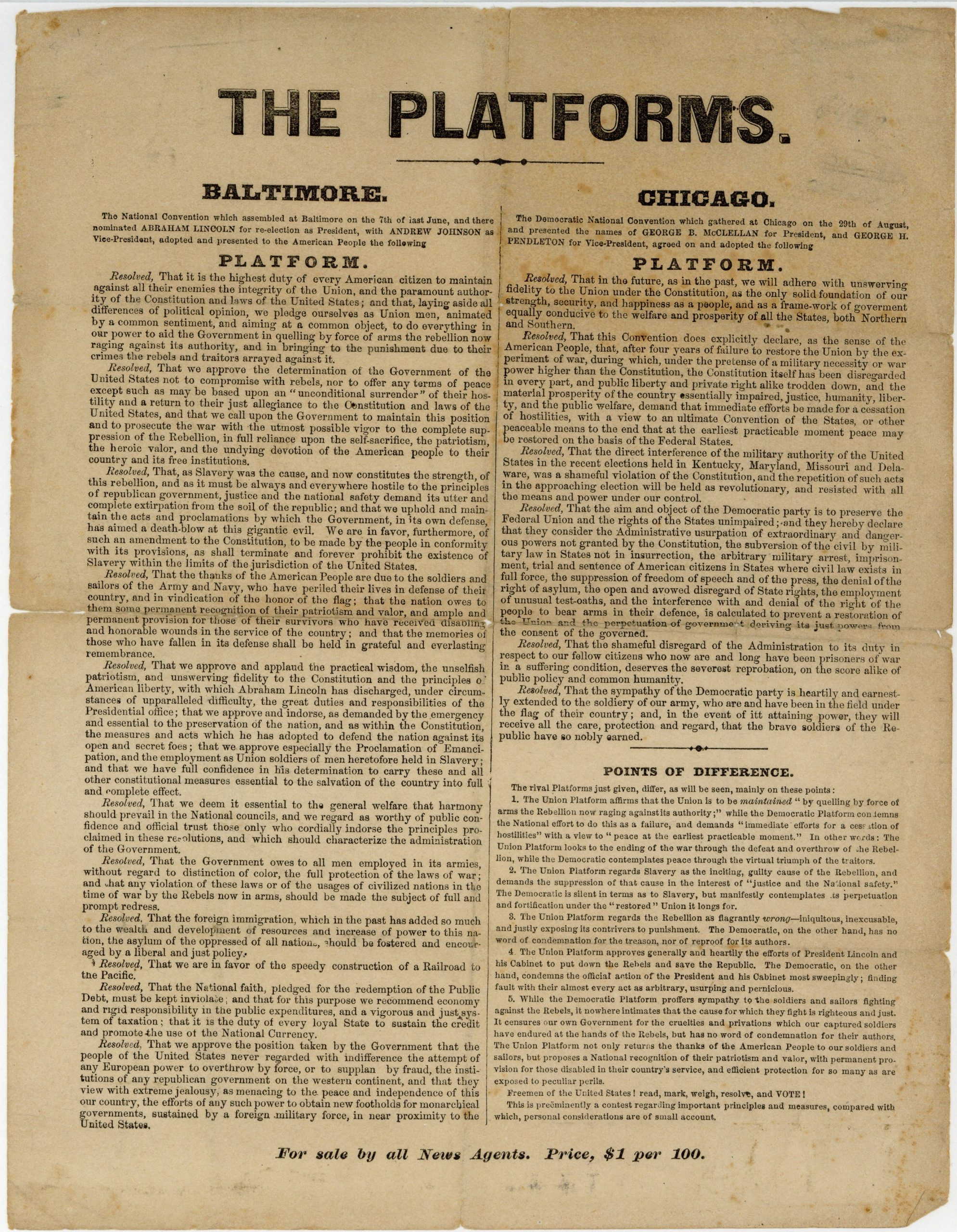 Broadside printed with campaign platforms for the Union party and Democratic party