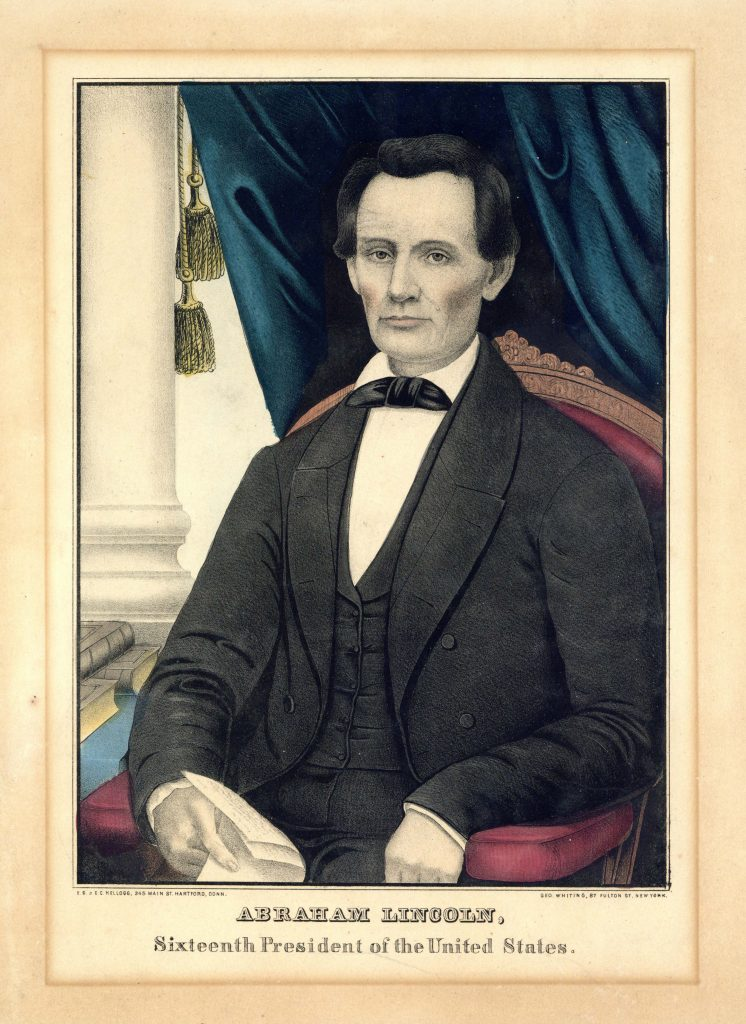 Color print depicting Lincoln seated in a chair, with his name and title below.