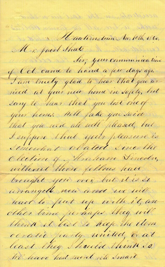 Handwritten letter discussing Lincoln's election on yellow lined paper